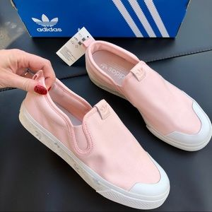 NWT ADIDAS NIZZA SLIP ON pink white vans shoes 8.5